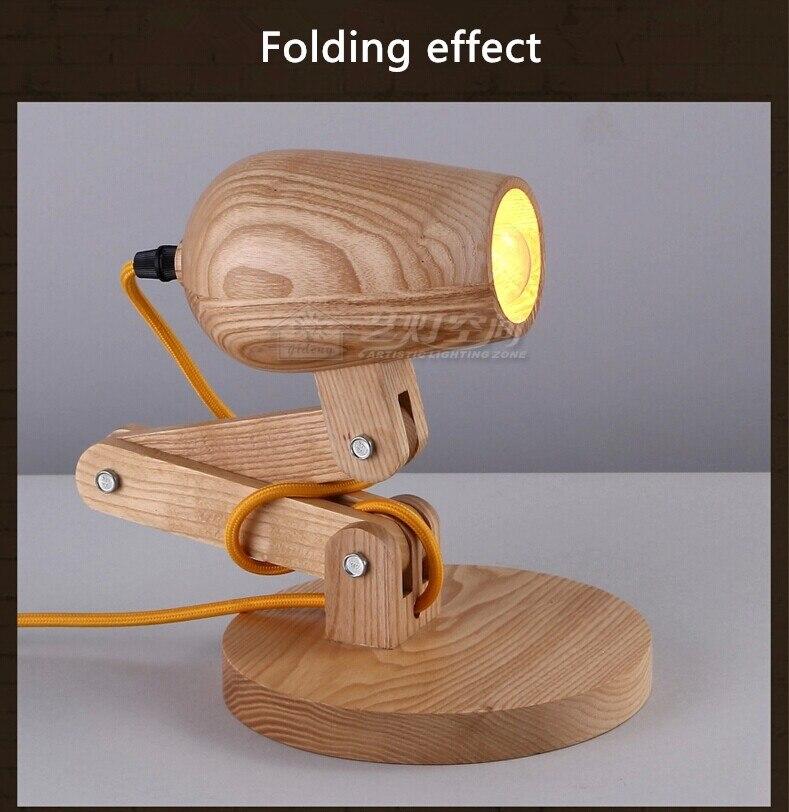 Newest Design Wood Table Lamps Desk Light Living Room Bedroom Decor 110  240V Wood Table Lighting Folding Table Lamp Study Lamps In Table Lamps From  Lights ...