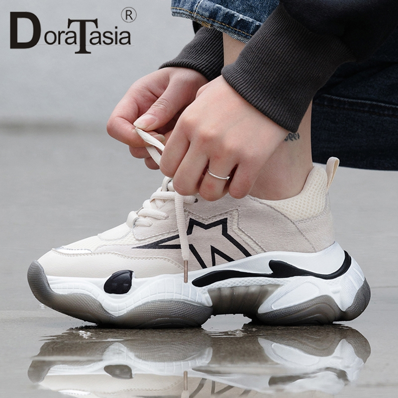 DORATASIA 2019 New INS Hot Whole Genuine   Leather     Suede   Sneakers Women Spring Platform Dad Shoes Woman   Leather   Women Shoes