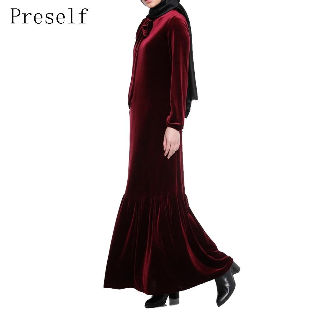 Preself для женщин Повседневное элегантный с длинным рукавом бархат Винтаж складки оборками подол платье макси абаи