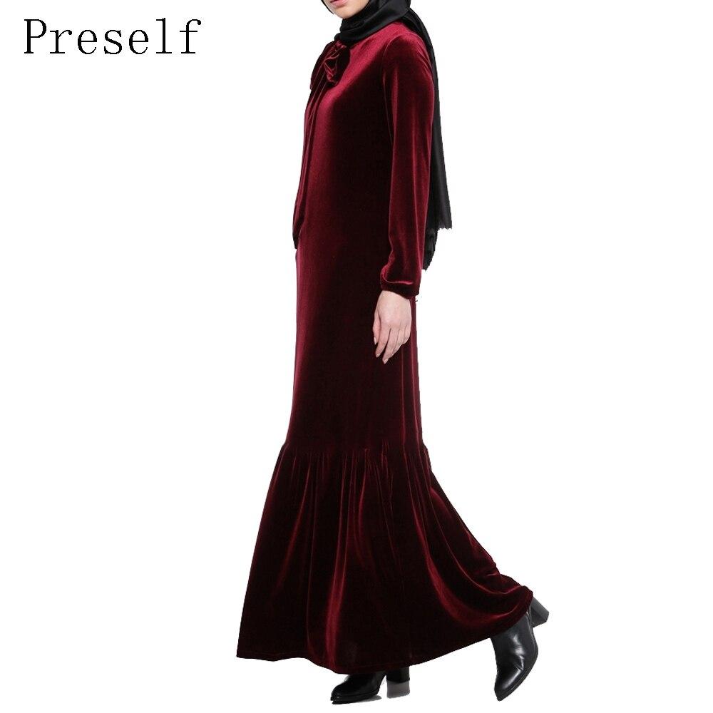 Preself mujeres Casual elegante manga larga de terciopelo vendimia plisados Ruffles Hem Maxi vestido Abaya