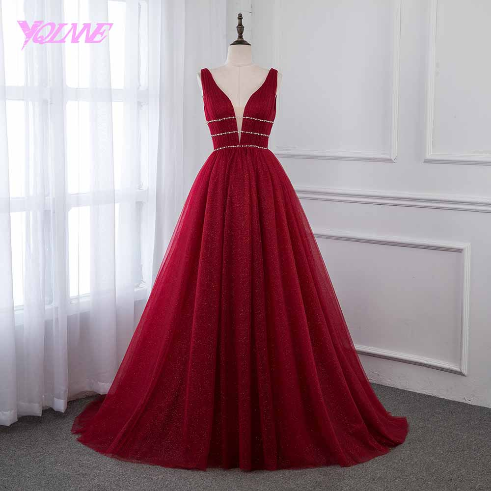 YQLNNE Wine Red   Prom     Dresses   Bling Tulle Deep V Neck Crystals 2019 Evening Gown Backless