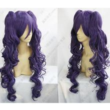 Hot Sell!!  Fashion Lolita Long Dark Purple Short Wig + 2PC Long Curly Clip Ponytail Wigs