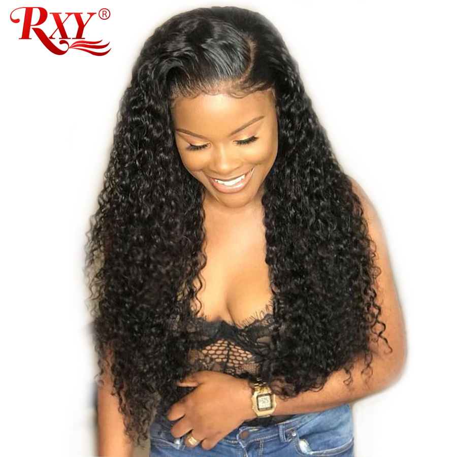 RXY 360 Lace Frontal Wig Pre Plucked With Baby Hair Peruvian Deep Wave Lace Wig Remy