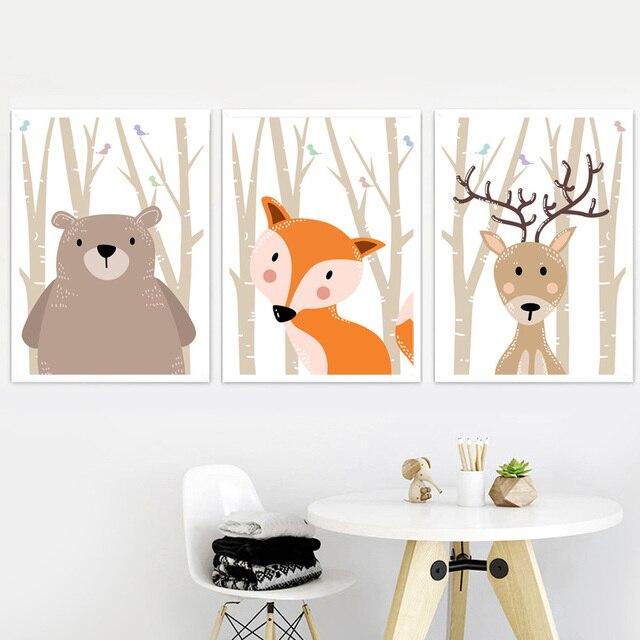 Forest Bird Fox Bear Lion Deer Rabbit Wall Art  1