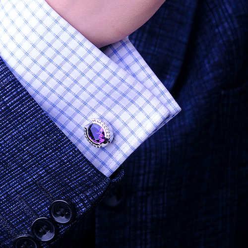 2019 camisa Designer De Luxo KFLK abotoaduras para mens Marca botões de punho de Cristal Roxo abotoaduras de Alta Qualidade abotoaduras Jóias
