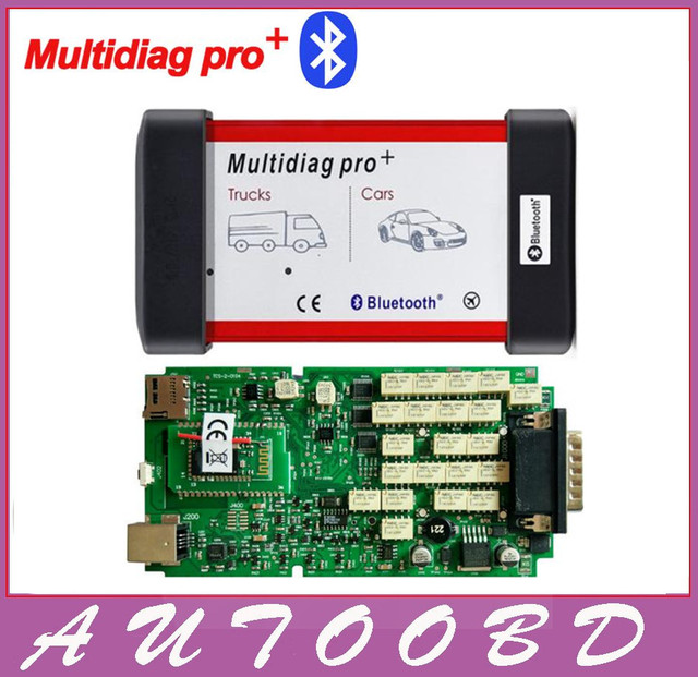 Free shipping New Single Green PCB Board Multidiag Pro+ With Bluetooth OBDII Maintenance diagnostic tool with multi-functions