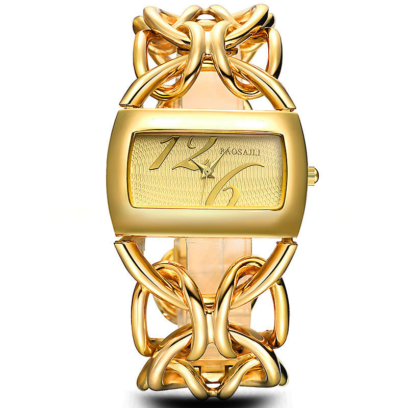 BAOSAILI Real Gold Plating Circel Strap Women Luxury Watches Dress Watch Japan Movt Charm Ladies Wrist Watch relgio