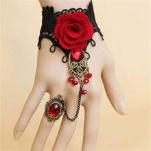 Retro Lace Red Rose Metal Bracelet Big Red Crystal fashion bracelet jewelry for female(China)