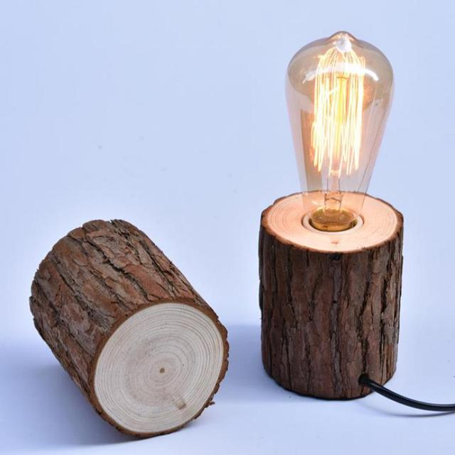 wooden e27 table lamp wooden base diy lighting table lamp lamparas