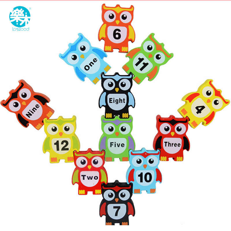 2e65143ebabe8 Logwood wooden toy building block Owl block balance table game Early  Educational brick toys table game