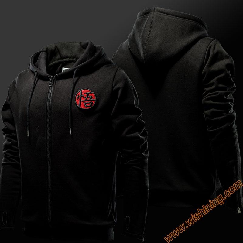 Dragon Ball Hoodie Man Boys Full Zipper Dragon Ball z Hooded Sweatshirts Black 3XL 4XL Top Clothing