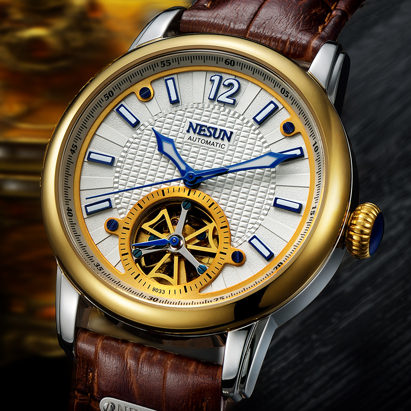 NESUN Top Brand Men Fashion Tourbillon Hollow Automatic Mechanical Wristwatches Waterproof Luxury Watches Male Relogio Masculino все цены