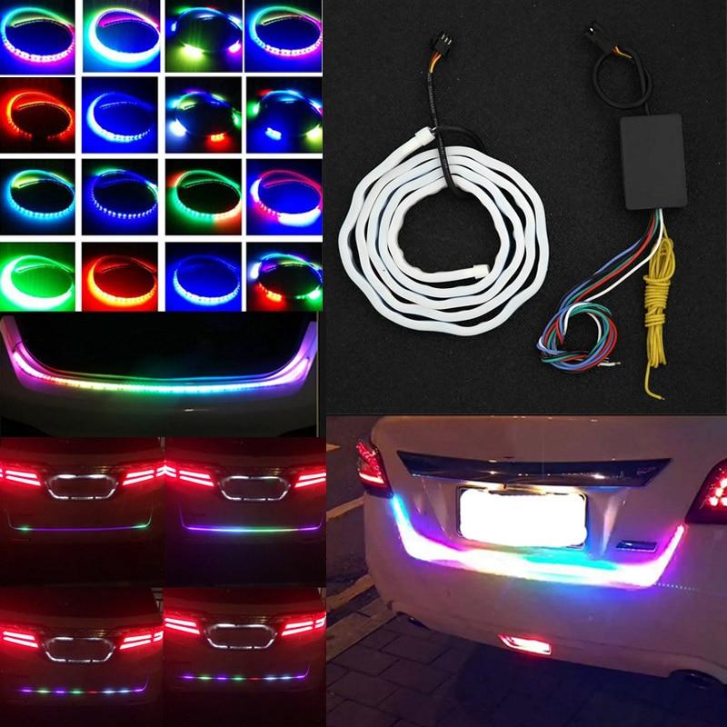 New Auto Car Tailgate Turning Signal Light Bar RGB LED Strip Trunk Light Strips Multicolor Braking