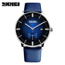 SKMEI Marca de Lujo de Relojes casuales de la moda Masculina reloj de cuarzo Clásico de Cuero genuino Correa de los hombres reloj de pulsera Relogio masculino caliente
