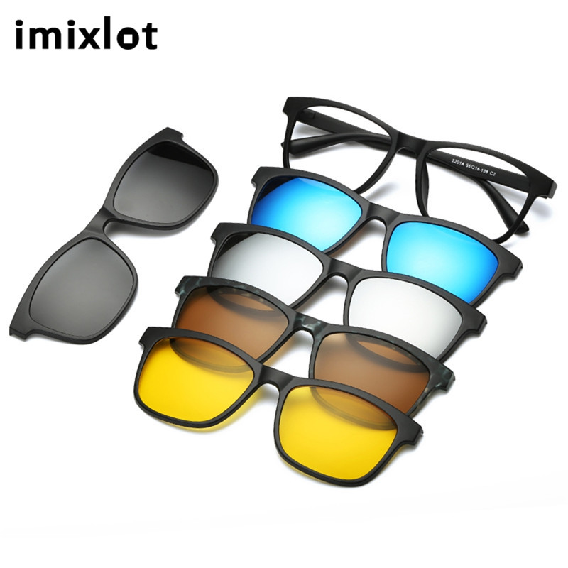 IMIXLOT Spectacle Frame Men Women With 5 Pieces Clip On Sunglasses Polarized Magnetic Glasses Male Driving Myopia Optical
