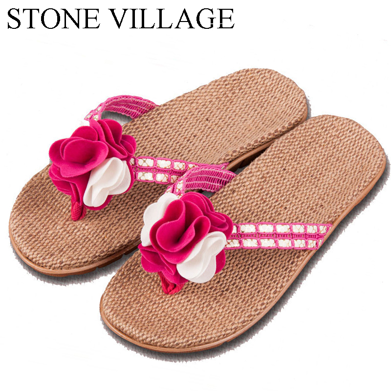 High Quality The New Summer Home Slippers Indoor Shoes Flax Slippers Non-Slip Sweat Flower Flip Flop Women  Slippers  Size 35-40 2017 hot sale women flip flop slippers female summer indoor anti slip slippers soft lightweight shoes size 36 40 available