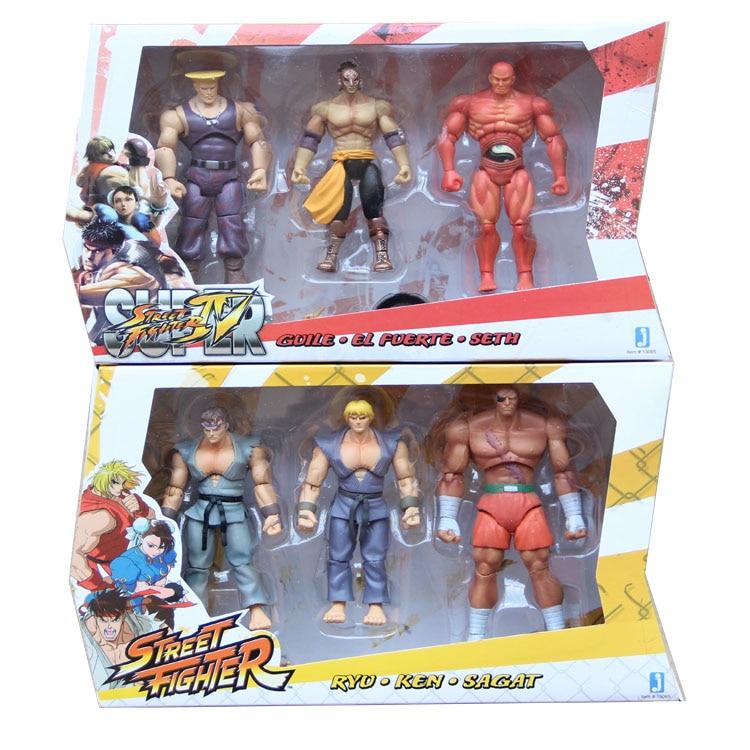 Street Fighter 4 Ryu Ken Sagat Guile EL Fuerte Seth PVC Action Figures Collectible Model Toys 10cm 6pcs/set KT034 seth wp
