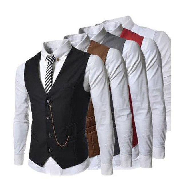 2016 nuevo vestido de la llegada chalecos para hombre Slim Fit Mens Suit hombres chaleco de Gilet Homme Casual sin mangas Formal de negocios chaqueta