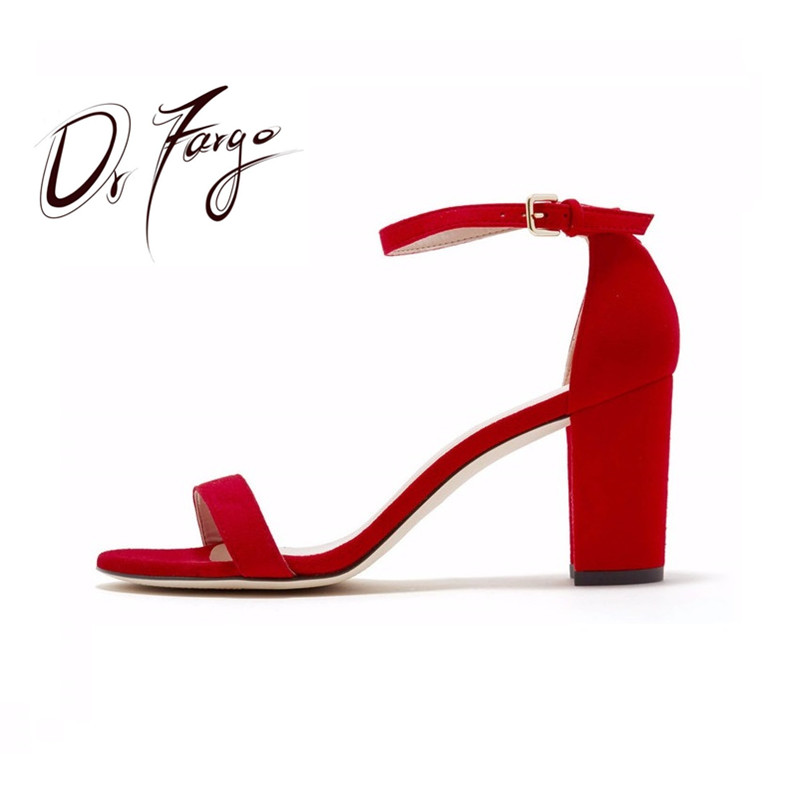 DRFARGO 2018 Women Summer Sandals Ankle Strap Square Heels  Shoes Women Open Toe Chunky High Heels Party Dress Sandals Big Size covibesco nude high heels sandals women ankle strap summer dress shoes woman open toe sandals sexy prom wedding shoes large size