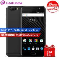 Ulefone T1 16MP Dual Rear Cameras Mobile Phone 5.5 FHD Helio P25 Octa Core 2.6Gh 6GB RAM 64GB ROM Touch ID PE2.0 4G Smartphone
