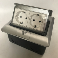 Top Quality Aluminum Silver Panel EU Standard 2 Way Pop Up Floor Socket Electrical Outlet Available Sockets