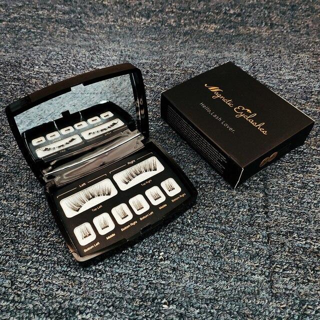 Genailish 8pc 3D Magnetic Eyelashes with Mirror Acrylic Box False Eyelashes Tweezer Makeup Magnetic Eye Lashes Extension SCT-602 2