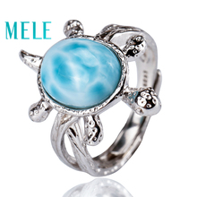 Tortoise shape natural deep blue larimar ring with silver 925,classic style jewelry for women and girls Suitable for party chic blue bead and leaf shape embellished retro ring for women