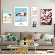 Scenery Poster Pink Beach Nordic Canvas Paintings Wall Art Prints Posters For Living Room Flamingo Quote Unframed