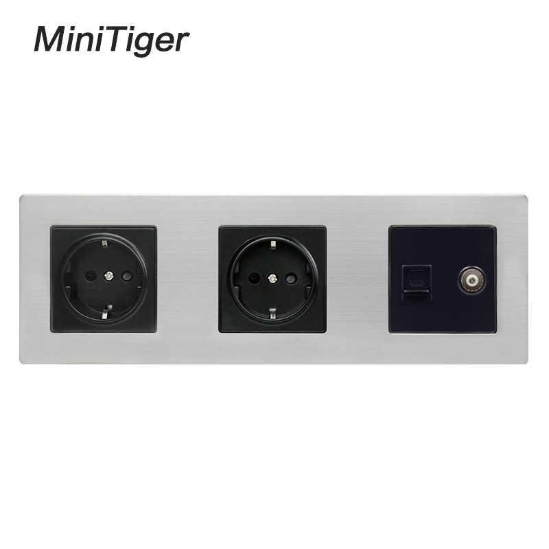 Minitiger Stainless Steel Panel Dinding Soket 16A Uni Eropa Power Outlet + Perempuan TV Jack dengan RJ45 CAT5E Internet Port perak