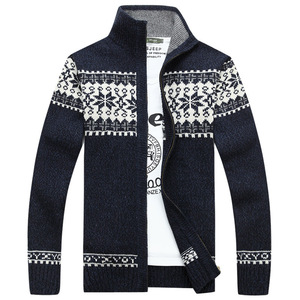 Image 3 - Christmas Sweater Winter New Pullover Snowflake Pattern Men s Leisure Cardigan Fashion Collar Male Thickening Wool Jacket
