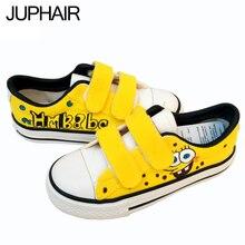 JUP Men's Males's Fashion  Hook & Loop Shoes Anime Spongebob Hand-Painted Canvas Shoes Low-Top Graffiti Men Casual Gift Footwear