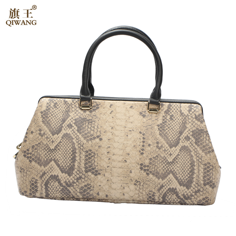 Qiwang Python Patroon Luxe Arts Vrouwen Handtassen designer Echt Koe Lederen Tas Vrouwelijke Bolsa Feminina Nieuwe Komen-in Top-Handle tassen van Bagage & Tassen op  Groep 3