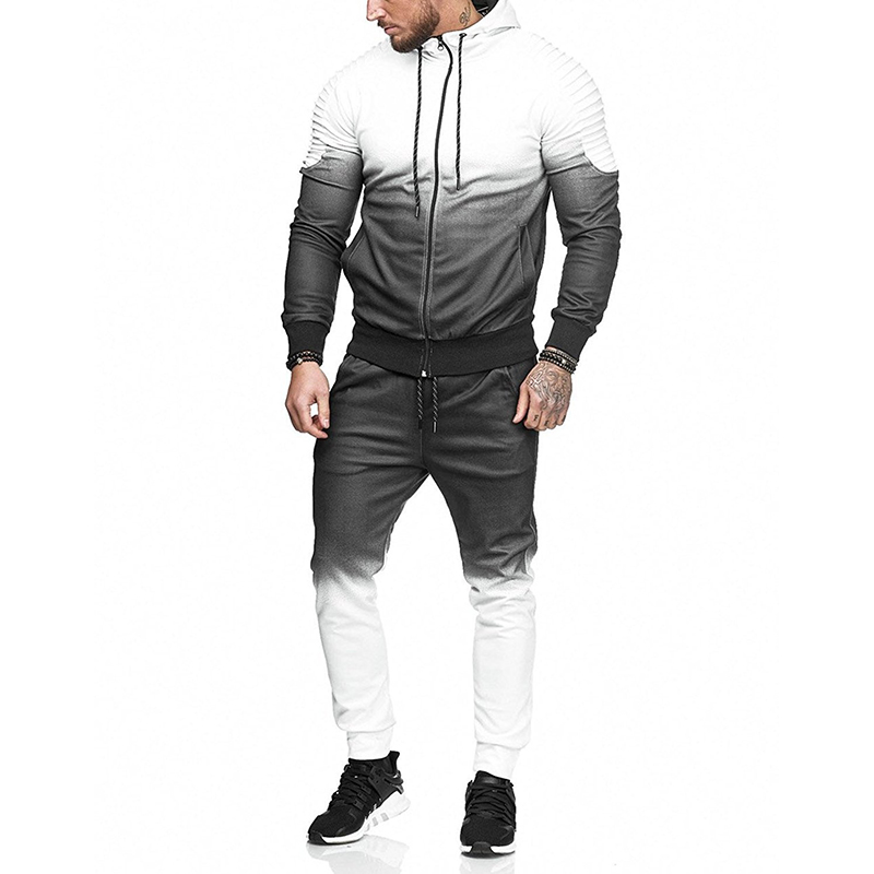 ZOGAA Fashion Casual Men Sweat Suit Streetwear With Hood Top Stitching Color Sweatsuits 4 Colors Tracksuit For Men 2 Pieces Set