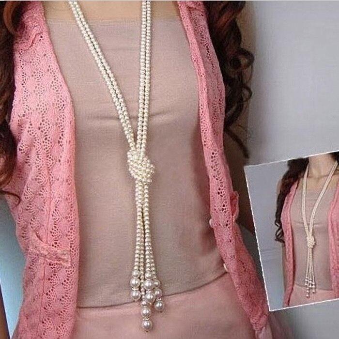 1 unids Largo Anudado Multi Simulado Collar de Perlas Cadena de Moda Las Mujeres Accesorios de La Joyería