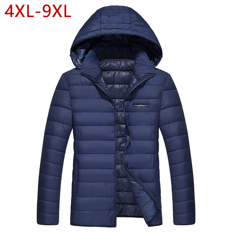 4XL-9XL Big Size Men Winter Thick Cotton Padded Hooded Jacket Male Causal Plus Size Thicken Warm Parka Outwear Varsity Coat CF01 2017 winter jacket men cotton padded thick hooded fur collar mens jackets and coats casual parka plus size 4xl coat male