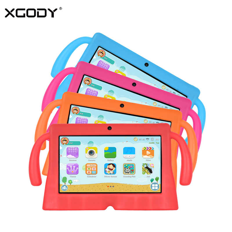 "XGODY 7"" Android 8.1 Tablet For Children Portable 7 inch Kids Tablet PC Quad Core 1G 16GB HD Dual Camera WiFi With Silicone Case"