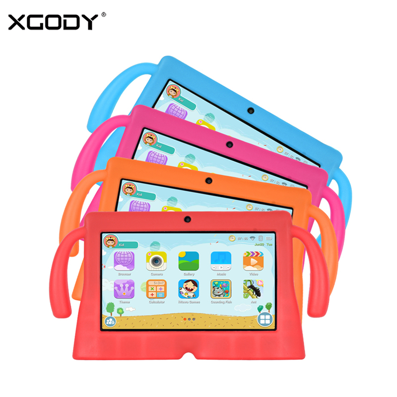 XGODY Tablet Android 8.1 Kids Children Learning Tablets 16GB Quad Core Dual Camera WiFi 7 Inch Portable PC Tablet Silicone Case