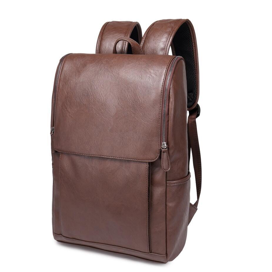 ФОТО High Quality England Vintage Style PU Leather Men Backpacks For College Preppy Style School Backpacks Newest Mochila Casual Bag