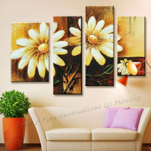 4 Panel Modern Hand Painted Beautiful Flower Oil Painting Canvas Wall Art  Home Decor For Living