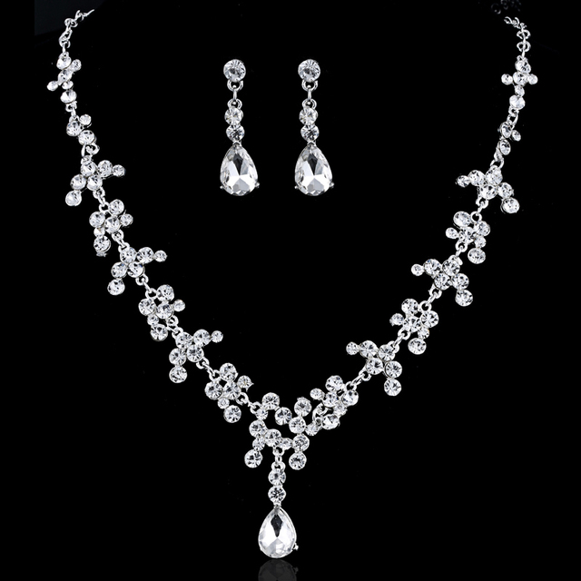 Hot Selling Elegant Wedding Jewelry Set Choker Necklace Earrings