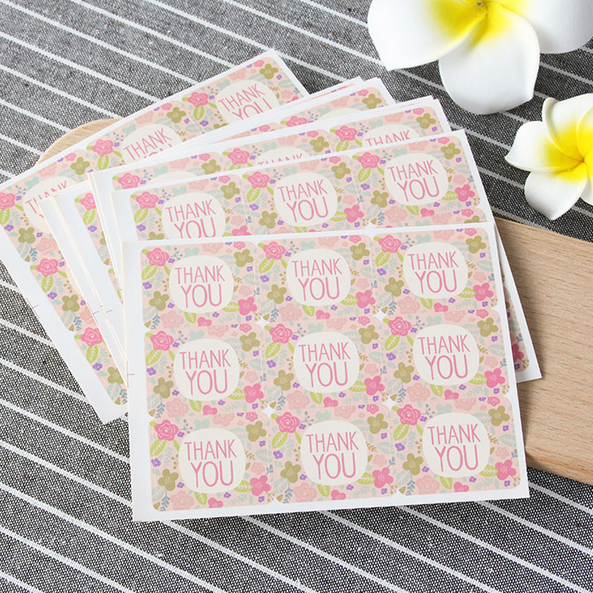90pcs/Lot Lovely Pink Flowers Thank You Seal Sticker Kraft Paper Cake Packaging Adhesive Wedding Party Gift Sticker