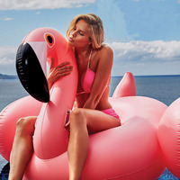 150CM 60 Inch Giant Inflatable Flamingo Pool Float Pink Ride On Swimming Ring Adults Children Water Holiday Party Toys Piscina