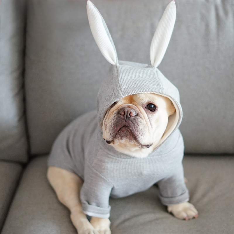 Super Cute ~ Rabbit Dog Costume Small Medium Dog Clothes Hoodie Coat Sweater Puppy Pug French Bulldog Apparel Pink Grey XS - XXL