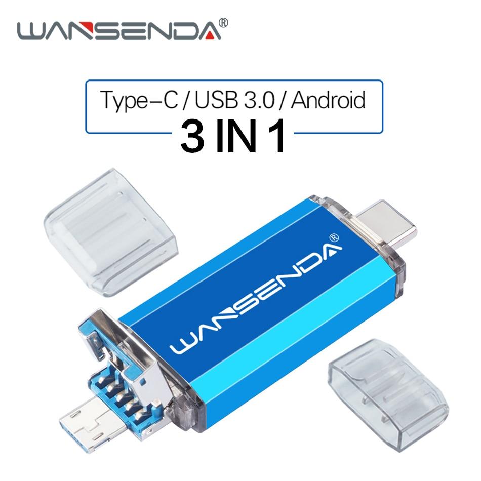 New WANSENDA USB 3.0 USB Flash Drive OTG Pen Drive 3 In 1 Type C & Micro USB Stick 32GB 64GB 128GB 256GB Pendrive Flash Drive