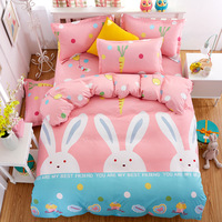 Cartoon Comforter Cover Girl's Pink Color Bedding Sets Pillowcase Kid's Bed Duvet Cover Twin size Bedclothes Set For Kids Bed