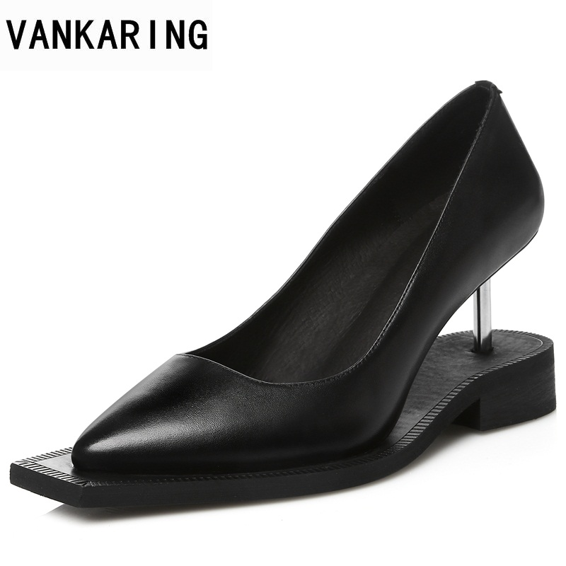 VANKARING new genuine leather women shoes strange style heels pointed toe black platform shoes woman dress office ladies pumps vankaring new 2018 spring women flats shoes patent leather flat heels pointed toe black red shoes woman dress casual date shoes