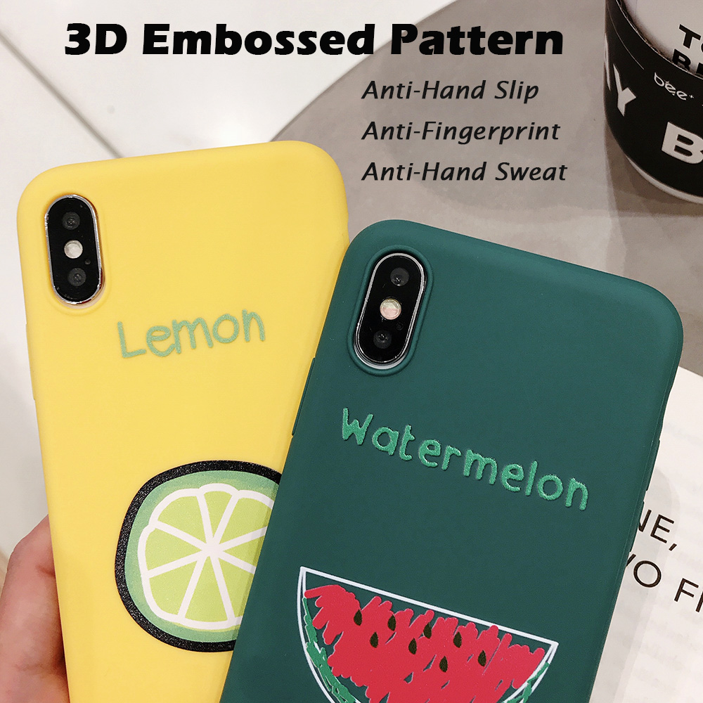 KIPX1090_4_JONSNOW Phone Case for iPhone XR XS Max 6S 7 8 Plus Embossed Fruit Style Lemon Watermelon Strawberry Patterns Soft Silicone Cover