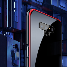 Business mens tempered glass mobile phone case for Samsung note9 aviation aluminum alloy metal frame drop protection cover