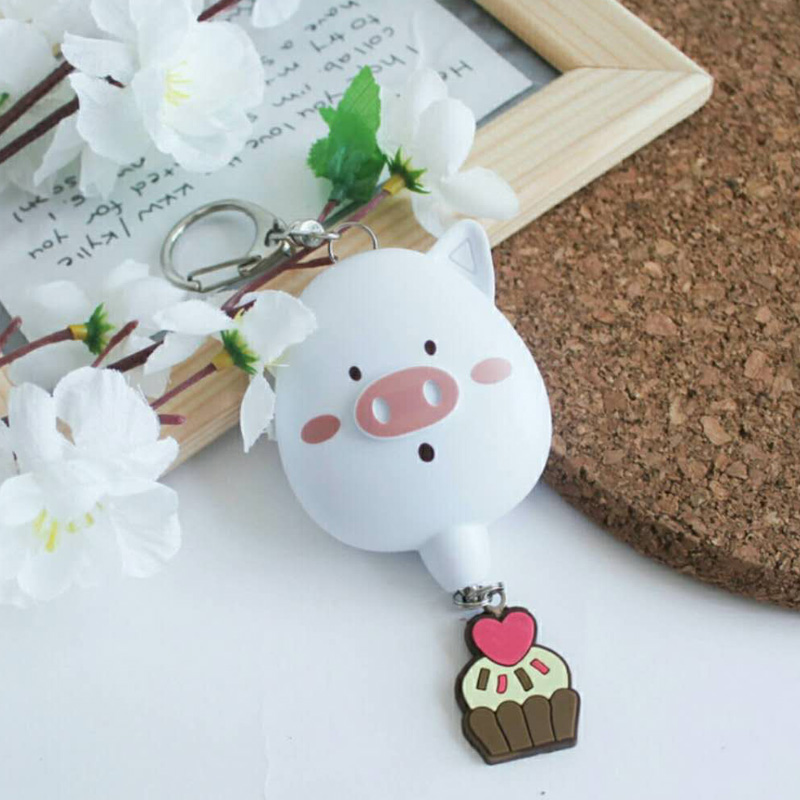 2pcs per bag cute shape pig personal alarm mini keyring 125dB sound portable keychain alarm for bags and wallets anti rob alarm mini motorcycle helmet keychain cute keyring