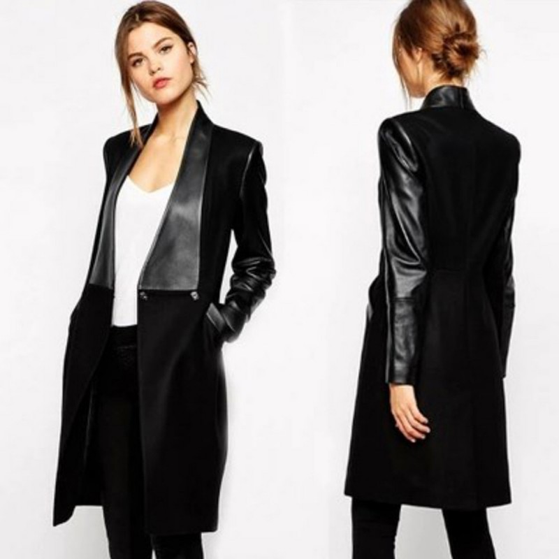2019 Autumn Women Jacket Long Coat Cardigan   Leather   Coat Lapel Splicing Long Sleeve Coat Winter Slim Woolen Jackets Female